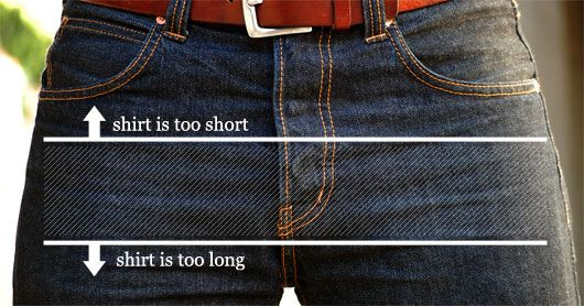 good advice...if your shirt will be untucked, this is how long it should be.