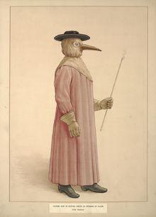 """Médico da Peste com fato e máscara """"protetora"""" antipeste, este modelo é muitas vezes associado à época do surto da peste negra, mas na realidade só foi inventado em 1619, por Charles de Lorme."""