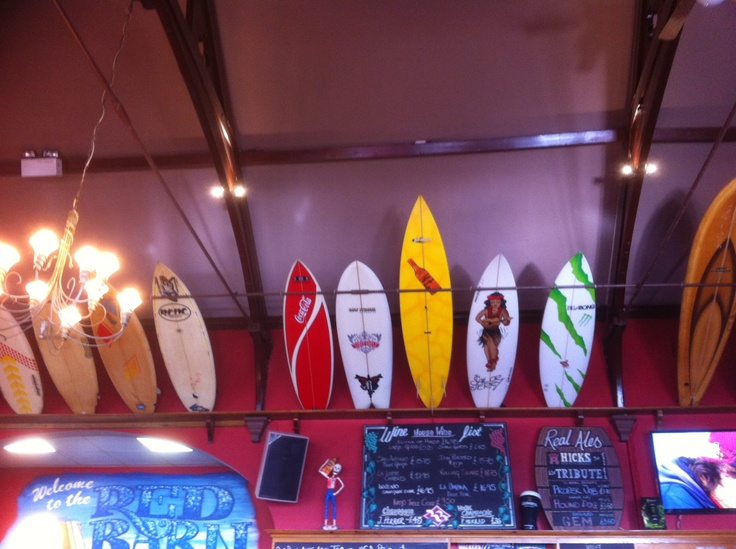Great display of surfboards in The Red Barn in Woolacombe