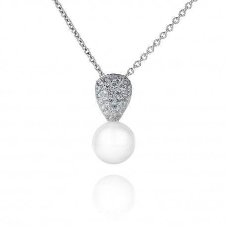 Stříbrný náhrdelník s říční perlou a zirkony
