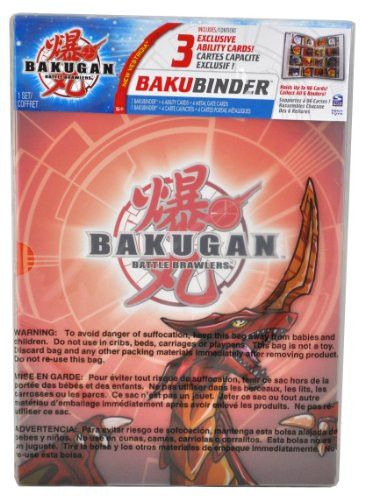 Cartoon Network TV Series Bakugan Battle Brawler Cards Holder - Pyrus Red BAKUBINDER with 4 Ability Cards (3 Exclusive) and 4 Metal Gate Cards (Binder Holds up to 96 Cards)