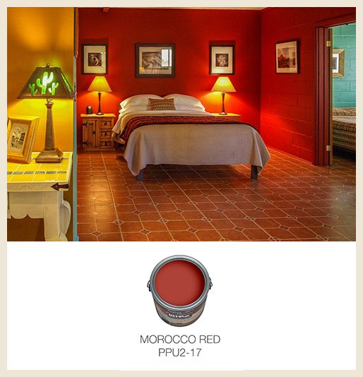 morocco red is the perfect hue for this dramatic bedroom behrpaint - Moroccan Red Paint