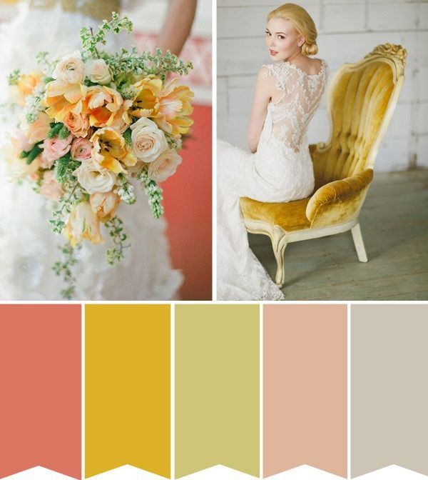 coral yellow wedding