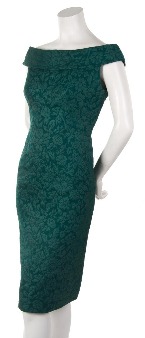 Jacques Heim Green Silk Dress,   1950s