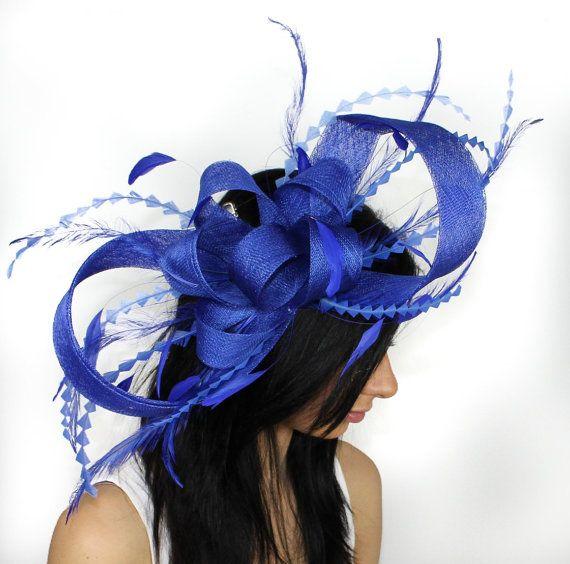 Royal blue fascinator hat for weddings cocktails by Hatsbycressida, $140.00