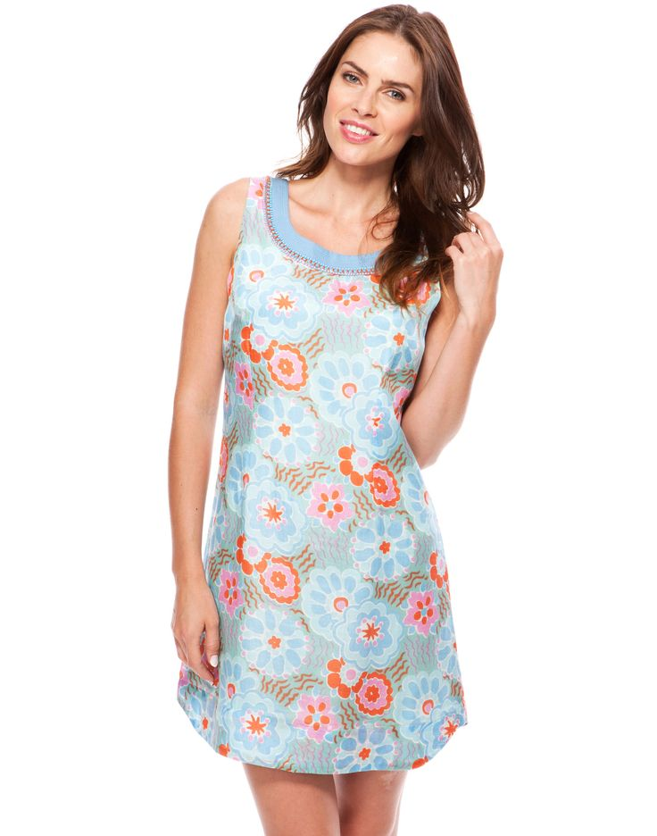 Whimsy Print Dress - Sky