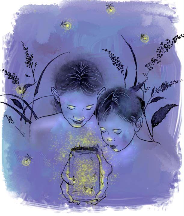 ⓒDenise Hilton Campbell -Fireflies -  Watercolor, digital, fireflies, children, jar, blue, summer night, www.salzmanart.com representative