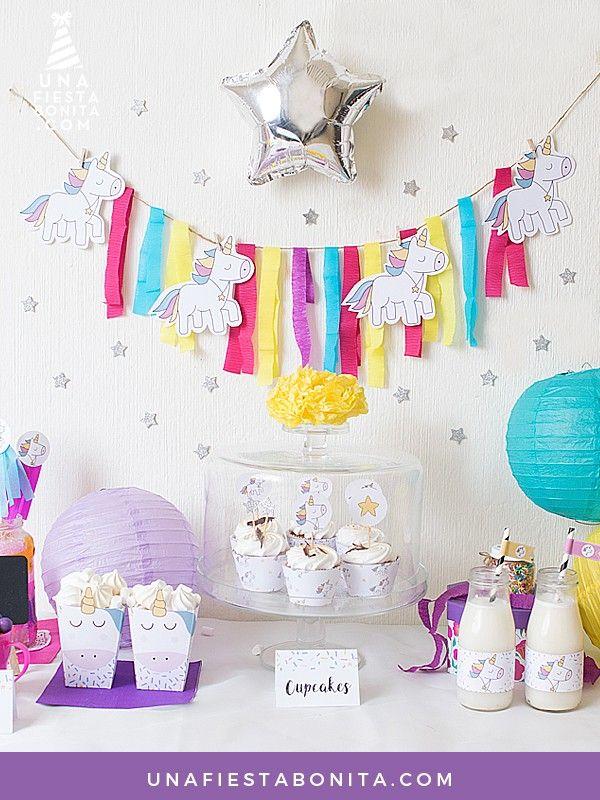 Las 25 mejores ideas sobre fiestas de cumplea os unicornio for Decoracion para pared de unicornio