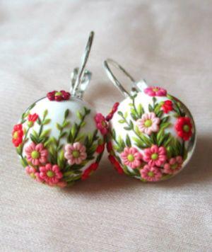 sweet hand painted floral earrings