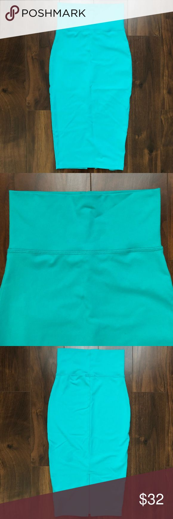 Bebe Aqua High Waisted Midi Skirt XXS • WORN ONCE Worn ONCE for 3 hours, washed cold & laid flat to dry. Literally in brand new condition!! The color is a gorgeous aqua blue. Bought at Bebe. Size XXS with tons of stretch and meant to be worn high-waisted with a tight, sexy fit. Super soft and comfy. Has a slit in the back. Absolutely no flaws or odors. Comes from a smoke-free home. I'm normally an XS or S in stretchy skirts and this fits me perfect (ask ANY questions! Will post measurements…
