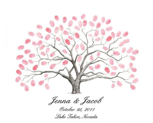 fingerabdruck baum vorlage rosa-blüten-blätter-diy-gästebuch