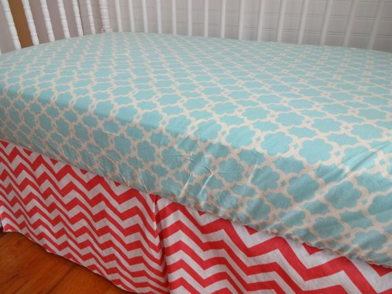 Ready to Ship Coral Chevron and Turquoise Crib by SorenByAngelique, $79.50