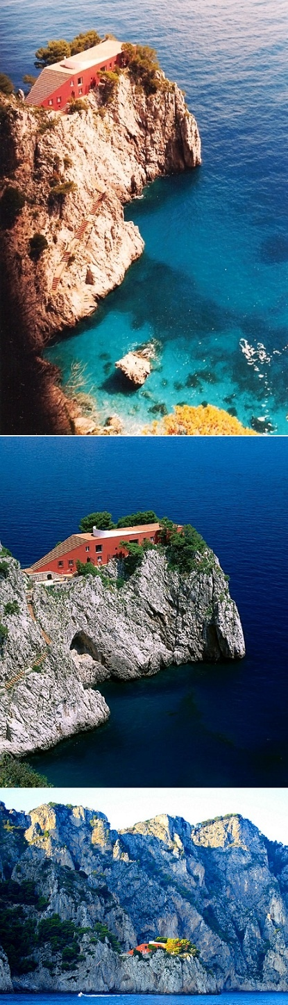 This slice of heaven was built in the Isle of Capri in Italy on the edge of a cliff just above the sea.