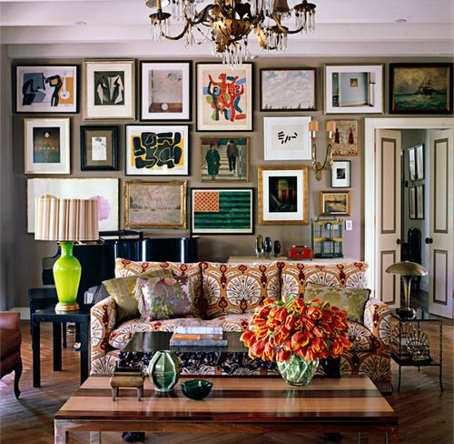Eclectic: Wall Art, Idea, Living Rooms, Elle Decor, Color, Interiors Design, Galleries Wall, Pictures Wall, Art Wall