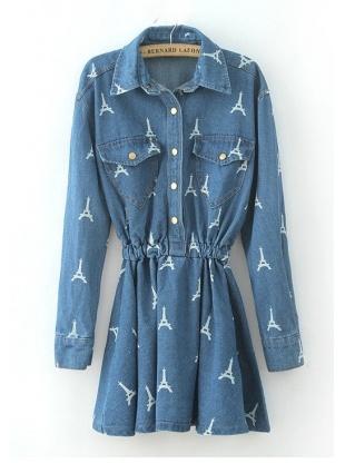 blue long sleeve lapel iron tower print denim dress