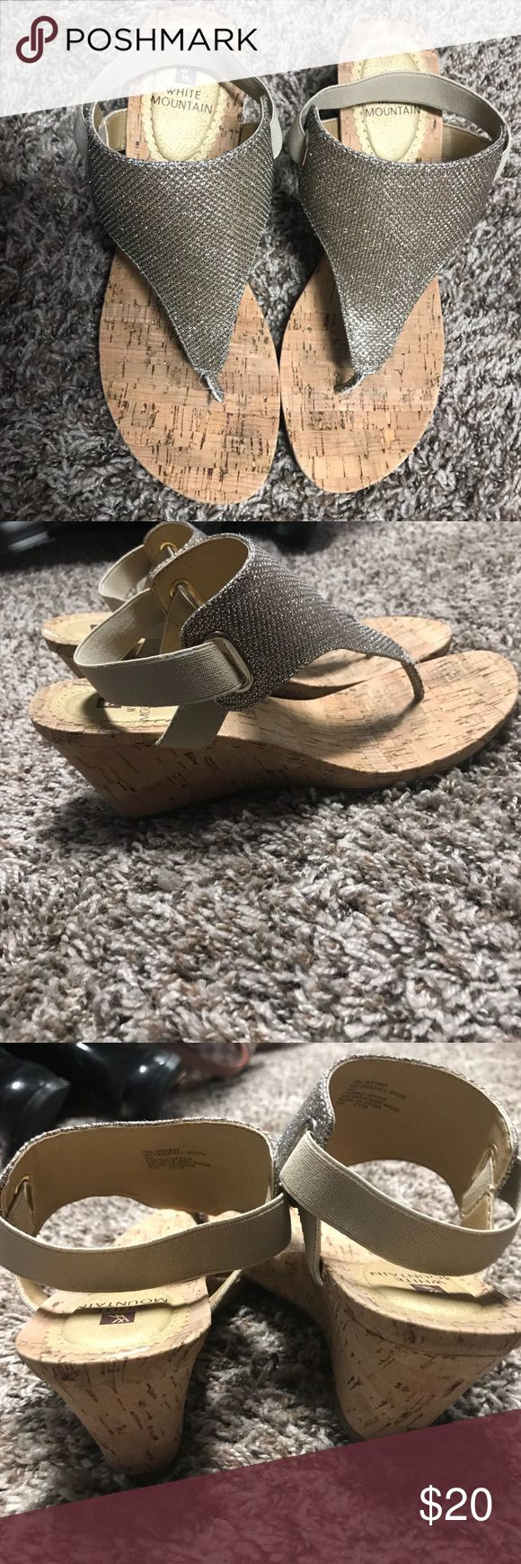 Brand New White Mountain cork glitzy gold shoes Perfect Spring or Summer dressy shoes! Beautiful light shimmery gold color and oh so comfortable cork wedge. Wear these heels all day and feel no pain!! They are a size 9 I love love love them but need a 9.5. Very true to size. White Mountain Shoes Sandals