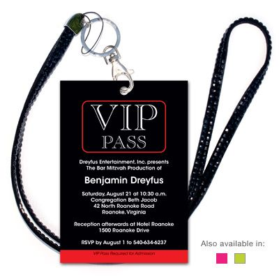 VIP Invitation w/Black Jeweled Lanyard