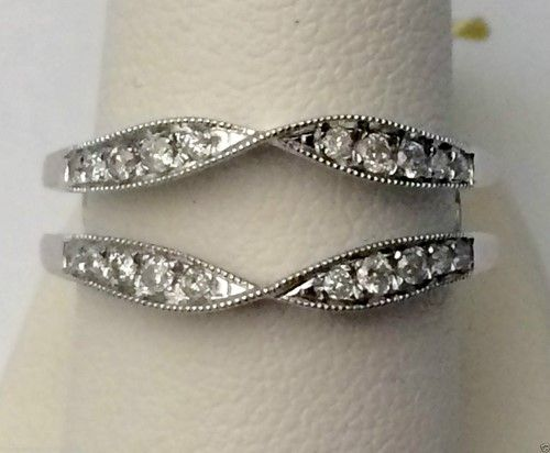 White Gold Solitaire Enhancer Diamond Ring Guard Wrap Vintage Milgrain (0.25ct. tw)-RG331489865393