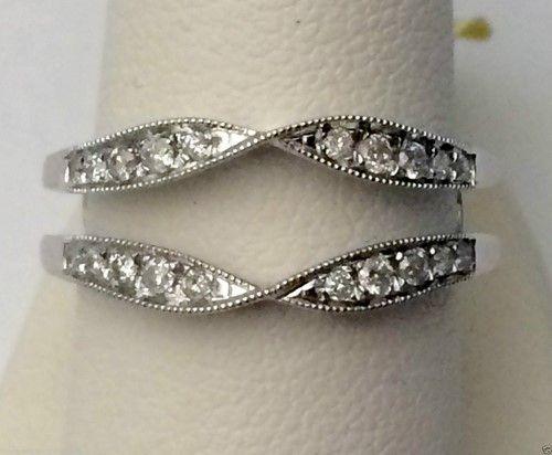 White Gold Solitaire Enhancer Diamond Ring Guard Wrap Vintage Milgrain (0.25ct. tw)-RG331489865393