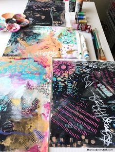 Got 30 minutes to play? Great!  Martice Smith shares a fun and easy way to make abstract backgrounds with stencils, full of saturated, metallic colors, textures and bold mark making.