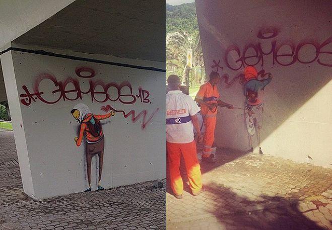 Grafite da dupla Osgemeos em viaduto é apagado pela prefeitura