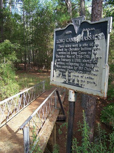 During the period that the French and Indian War was occurring along the frontier, the settlers of Lane Canes (McCormick County, South Carolina) suffered a massacre by the Cherokee Nation. Description from georgiapioneers.com. I searched for this on bing.com/images