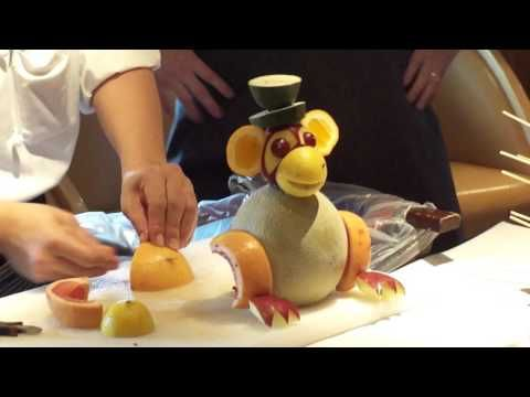 Fruit sculpture demonstration on Celebrity Cruise line.  Very impressive work and history of carver. - YouTube