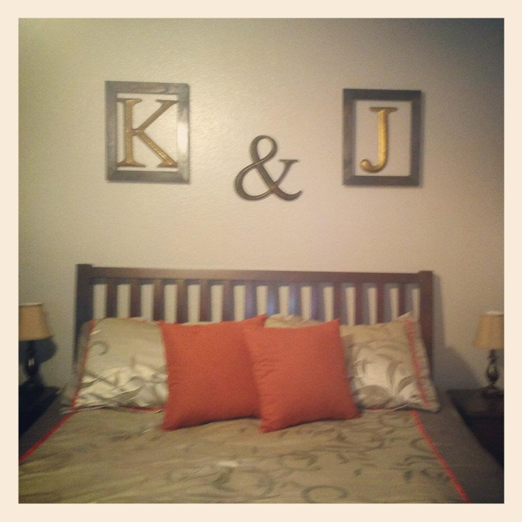 easy bedroom wall art cost about 28 dollars to make letters and open frames