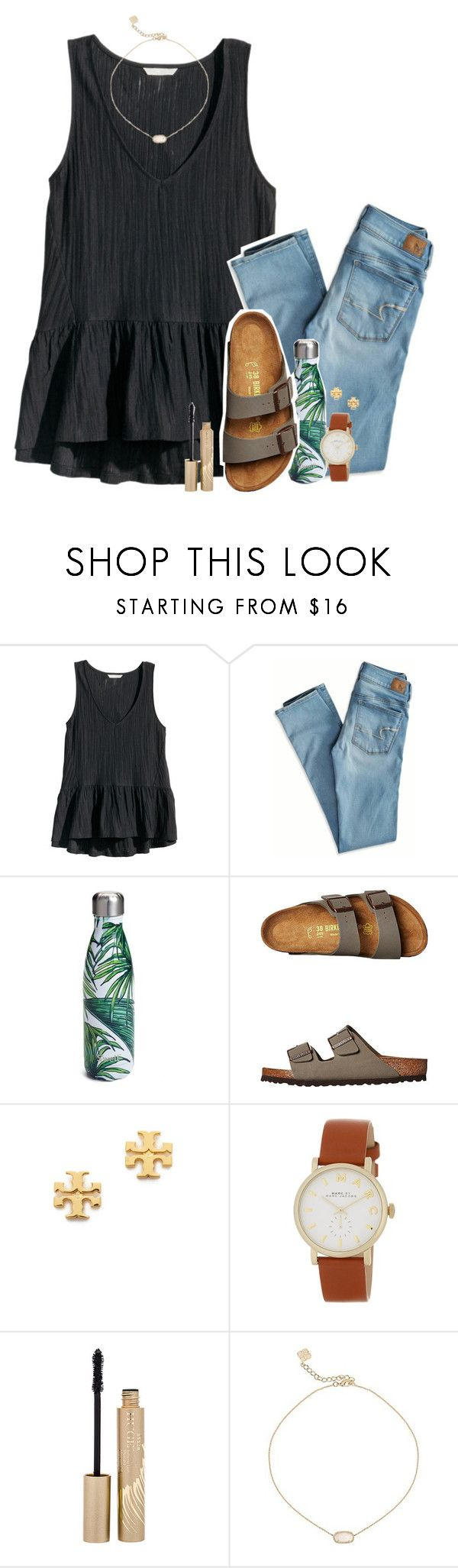 """let's dance~"" by the-preps ❤ liked on Polyvore featuring H&M, American Eagle Outfitters, S'well, Birkenstock, Tory Burch, Marc Jacobs, Stila and Kendra Scott"