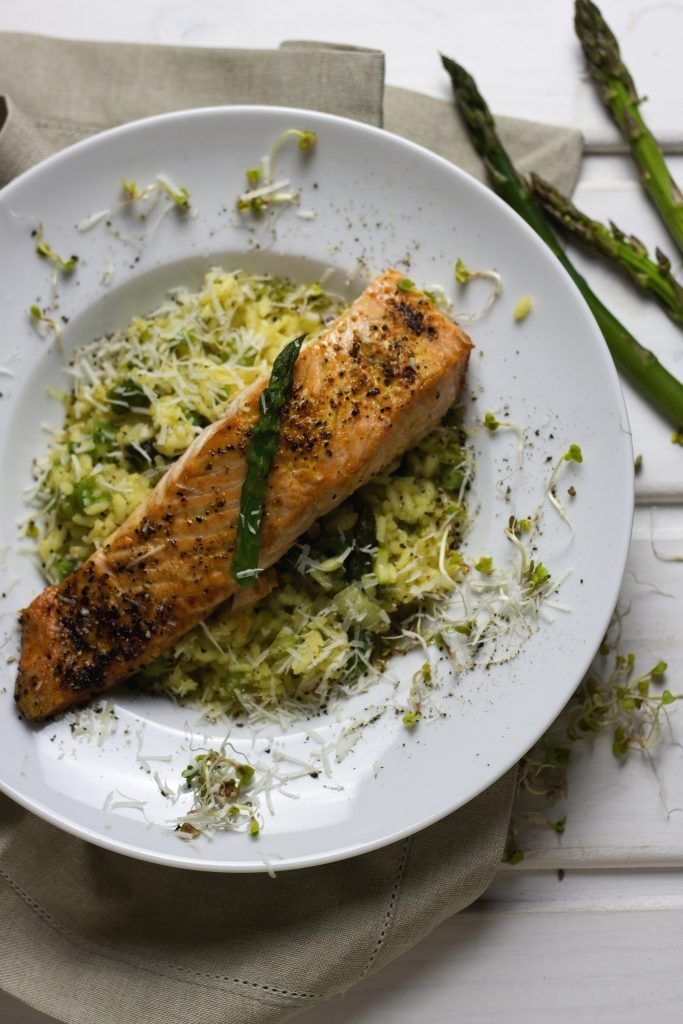 Saffron Risotto with Asparagus and Salmon