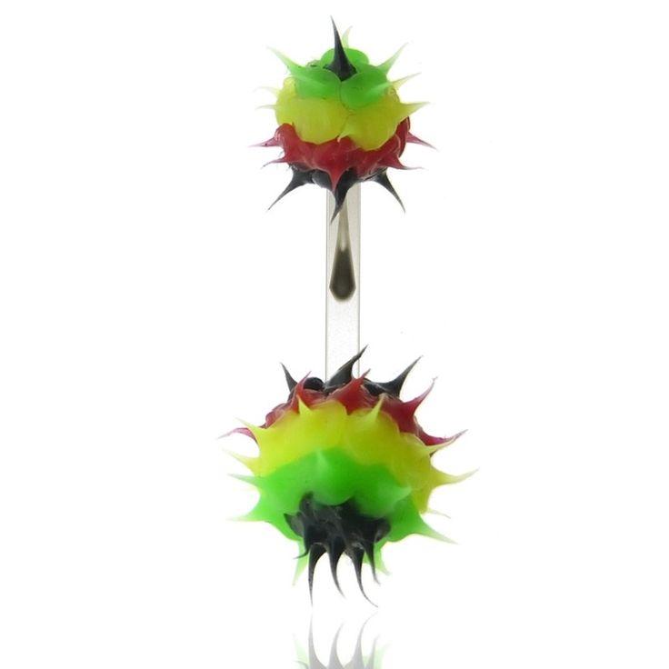 Piercing nombril boules en silicone vert jaune rouge