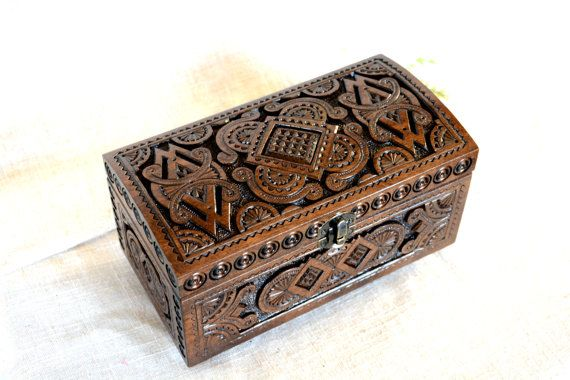 Jewelry box Wooden box Ring box Ring boxes Carved by HappyFlying