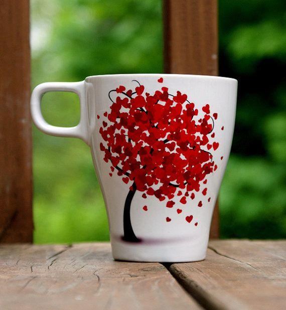 Romance Tree Mug with Falling Hearts.  $19