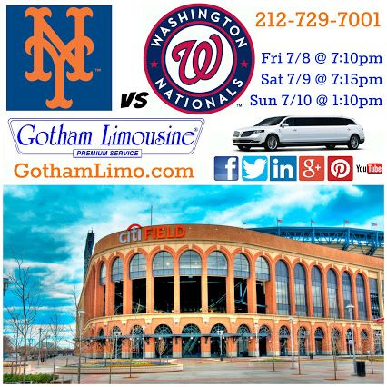 NY Mets vs Washington Nationals at Citi Field.  Mets limo from Gotham Limousine.
