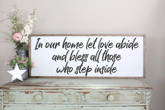 In Our Home Let Love Abide Sign Farmhouse Style Wall Art Welcome