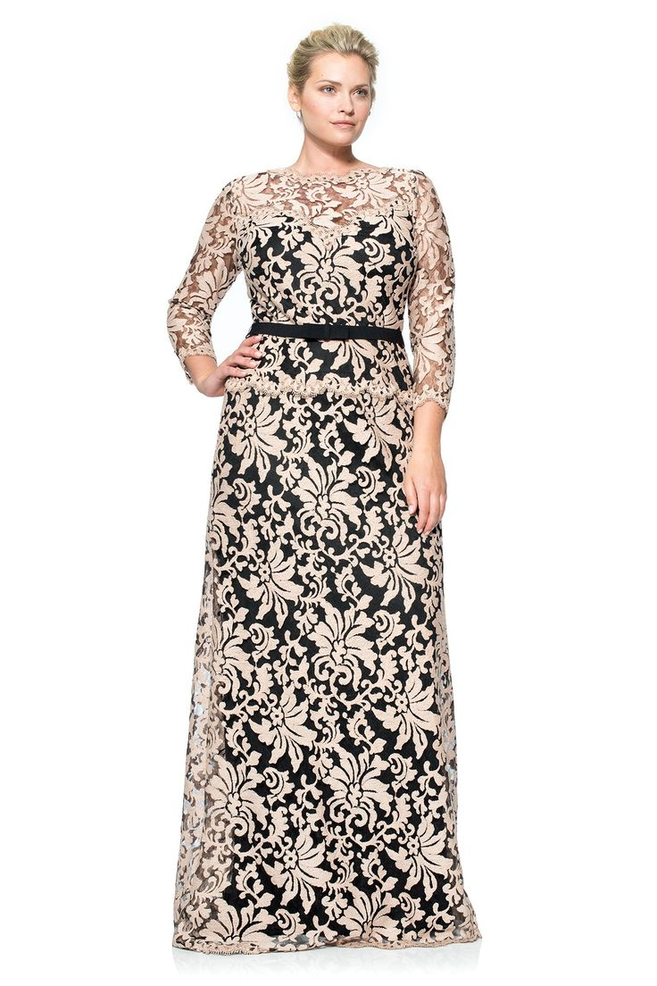 Illusion Lace ¾ Sleeve Gown - PLUS SIZE
