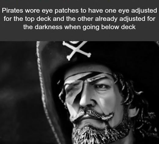 The reason pirates wore eye patches...