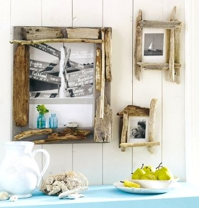 Totally simple driftwood picture frames... http://www.completely-coastal.com/2013/06/diy-frames.html