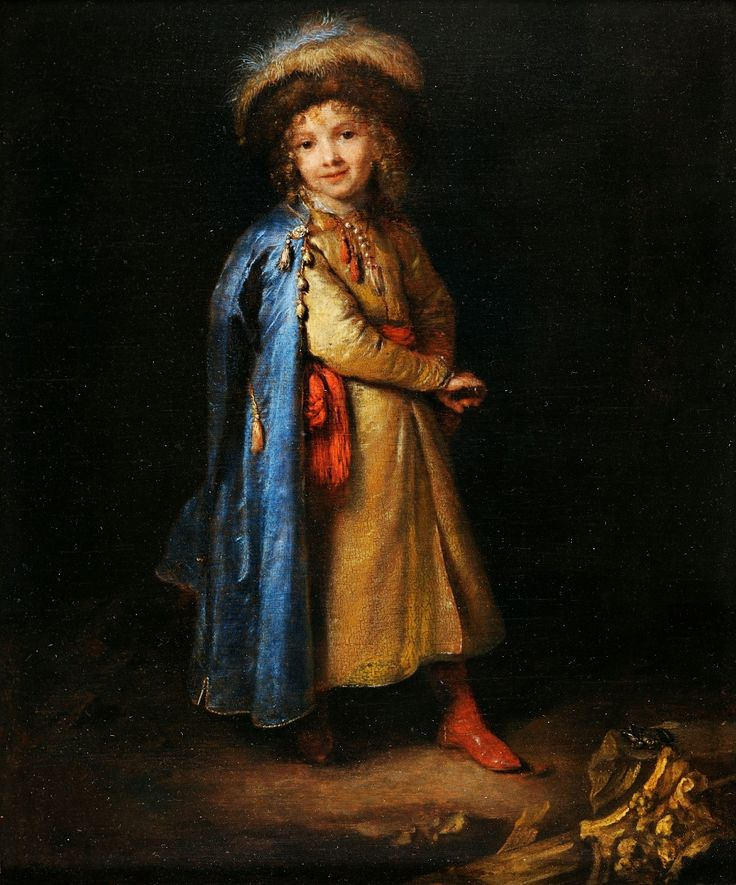 Portrait of a boy in Polish costume by Caspar Netscher, 1668-1672 (PD-art/old), Muzeum Czartoryskich, a child of travelling Poles or diplomats or a Dutch boy in Polish costume was dressed in a gold żupan, blue delia coat and kolpak fur hat