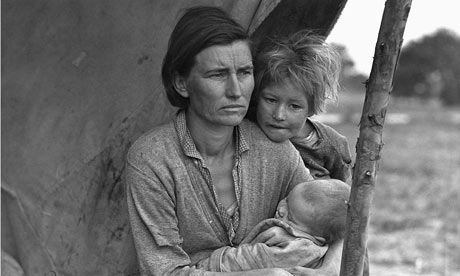 One of Dorothea Lange's images (but not the most famous one) of Florence Owens Thompson, California, 1936.