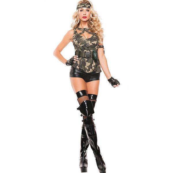 Army Green Sexy Army Costume ($29) ❤ liked on Polyvore featuring costumes, sexy camo costume, camouflage halloween costume, sexy military halloween costumes, white costume and white halloween costumes