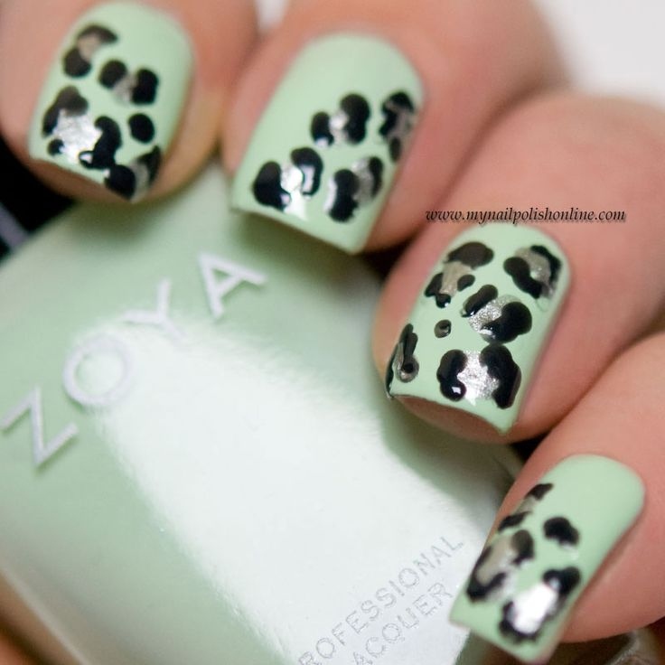 949 best nail art images on pinterest nail art designs zoya black silver and mint leopard print nail art nails prinsesfo Images