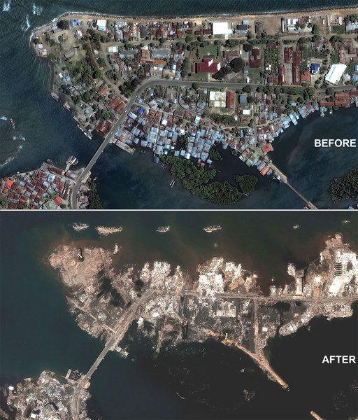 Tsunami before and after - Sumatra-Andaman Tsunami: December, 2004