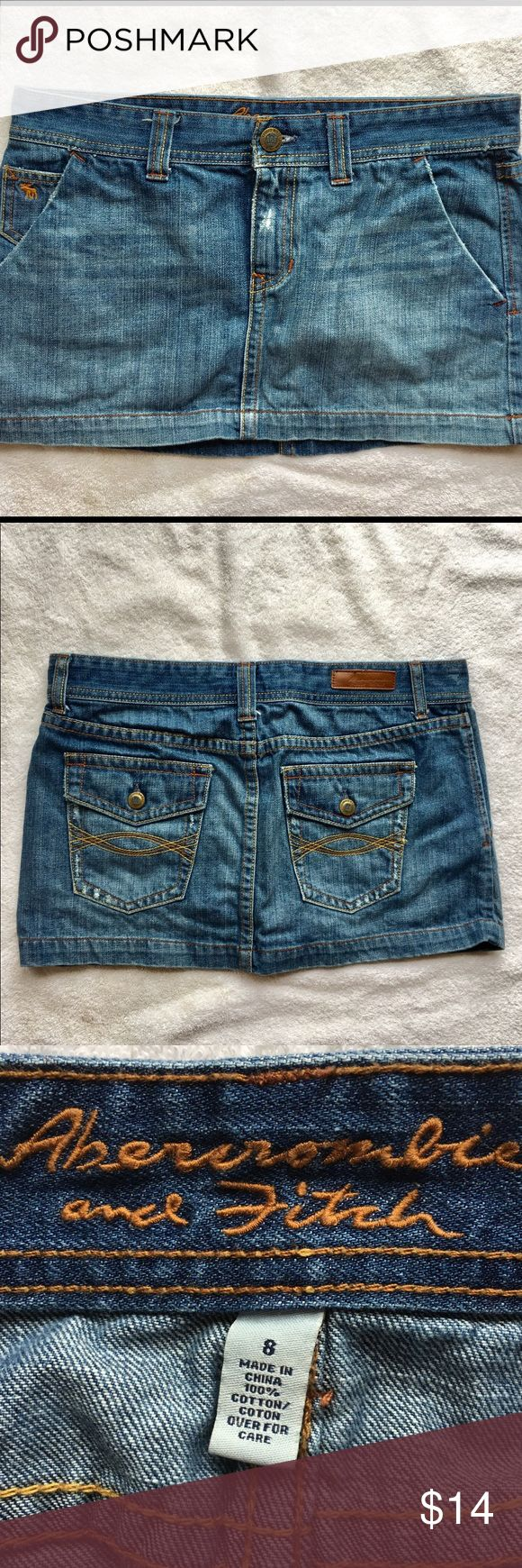 """Abercrombie & Fitch Denim Mini Skirt Make an offer!   I use scented detergent and perfume   Low rise mini skirt from Abercrombie & Fitch in a junior's size 8. The rise is about 6"""", length is about 11"""", and waistband is about 17"""" across laid flat so 34"""" around in total. In wonderful condition with no flaws at all. Price negotiable but NO TRADES. I cannot do try-on photos, this is way too big for me, sorry!  Offers: ✅ Trades: ❌ Abercrombie & Fitch Skirts Mini"""
