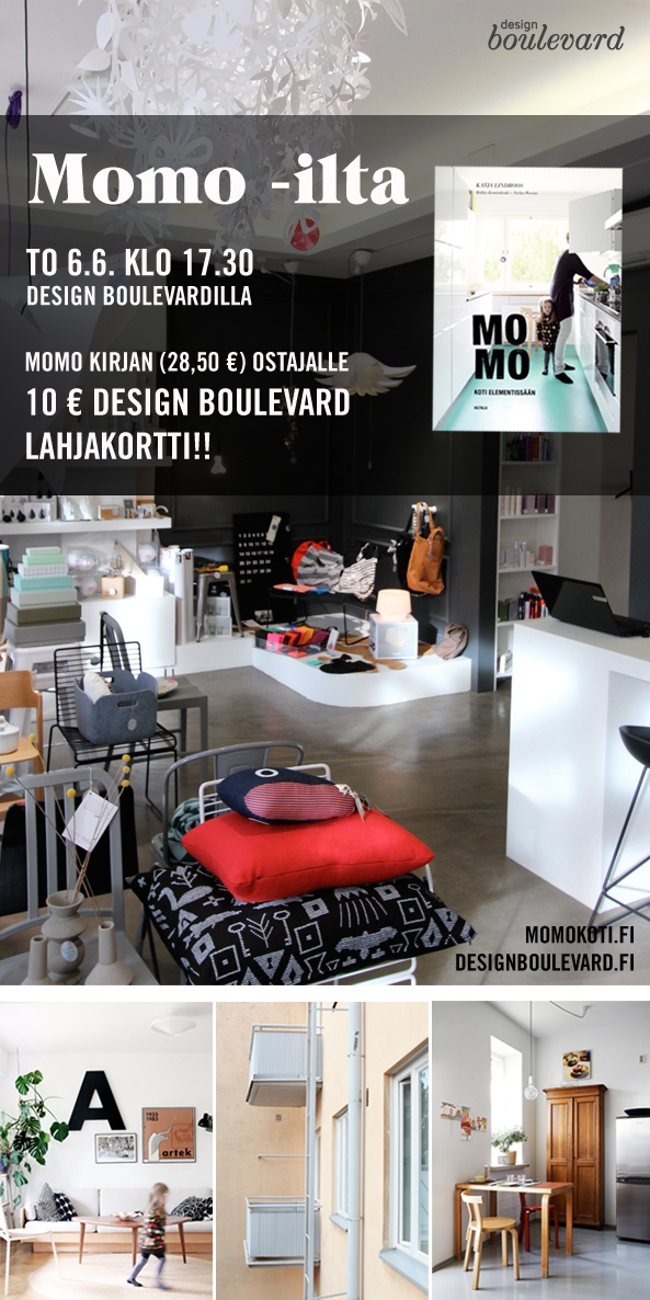 an ad for an event in Design Boulevard, Tampere Finland, for interior enthusiasts and momo dwellers