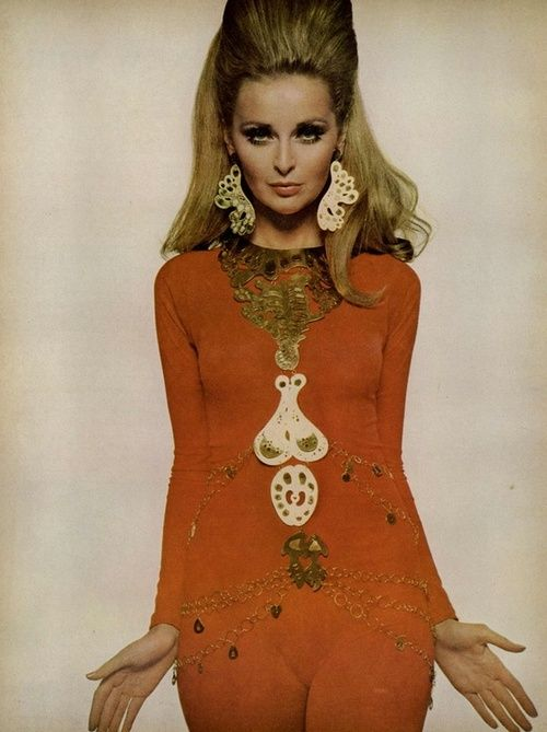 Samantha Jones for Vogue, February 1967. Great body jewellery!!