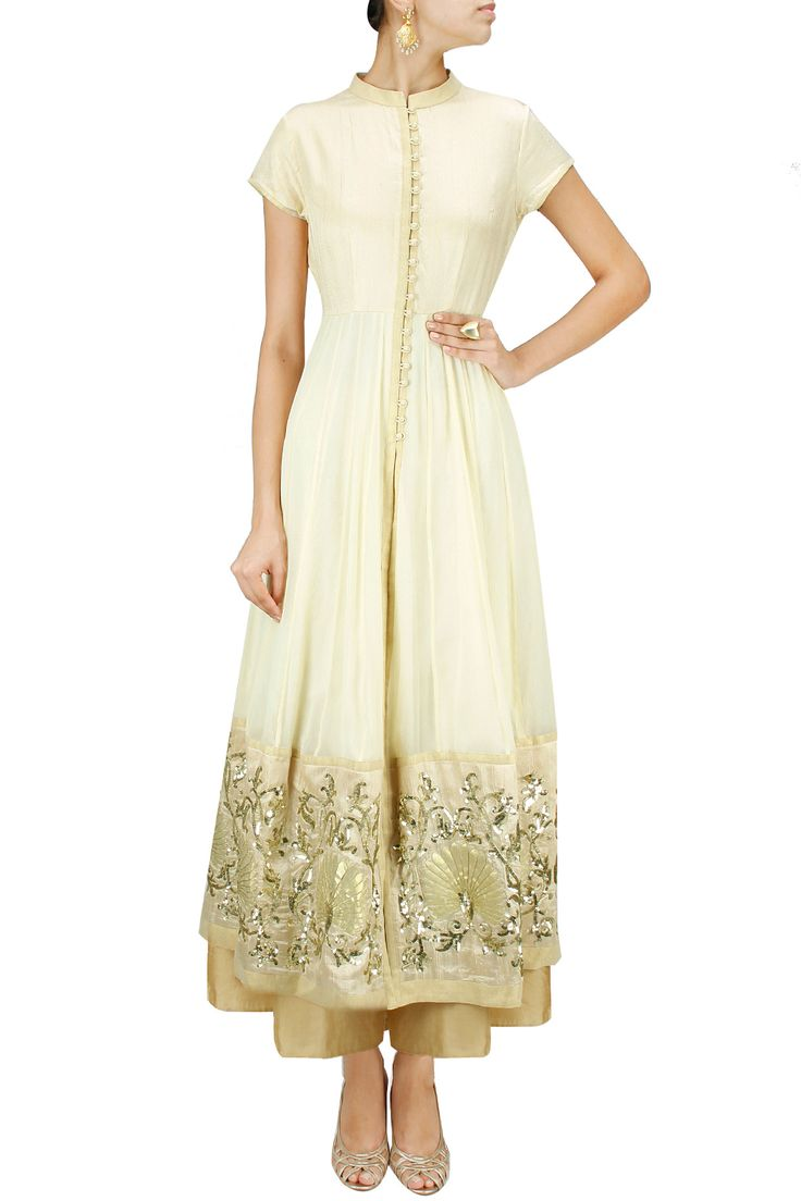Off white sequins and gota embroidered jacket anarkali set BY VASAVI SHAH. Shop now at: www.perniaspopups... #perniaspopupshop #amazing #beautiful #clothes #style #designer #fashion #stunning #trend #new