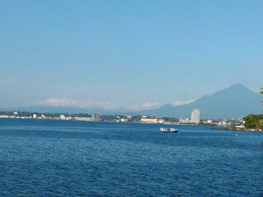 Manado city visible from the beach Malalayang