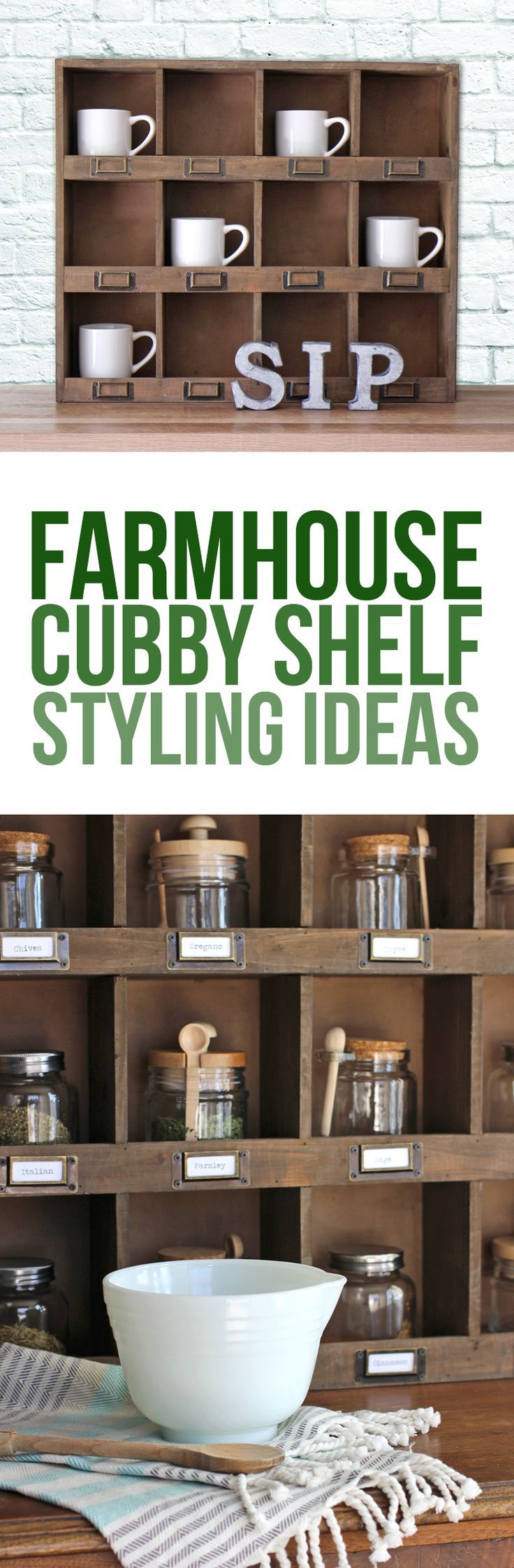 Four awesome ways to style a farmhouse style shelf. Cubby shelf styling ideas. Get your shelfie on! Home decor tips and tricks. Decorating with barn wood.