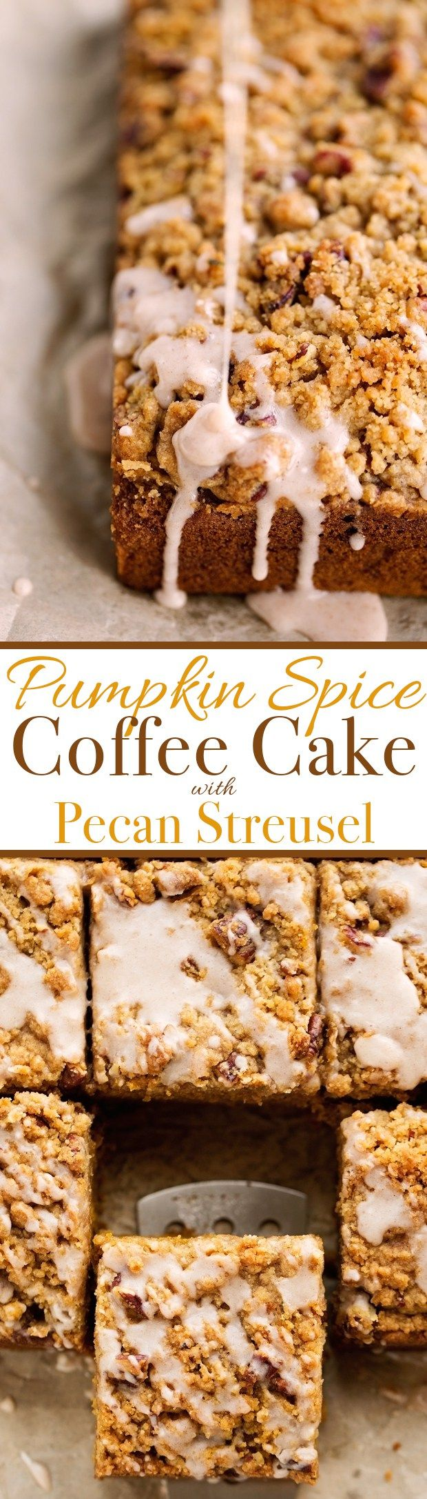 Pumpkin Coffee Cake with Pecan Streusel Topping - Loaded with sweet pumpkin spice, lightly sweeter but so moist! #pumpkin #coffeecake #pumpkincake | Littlespicejar.com